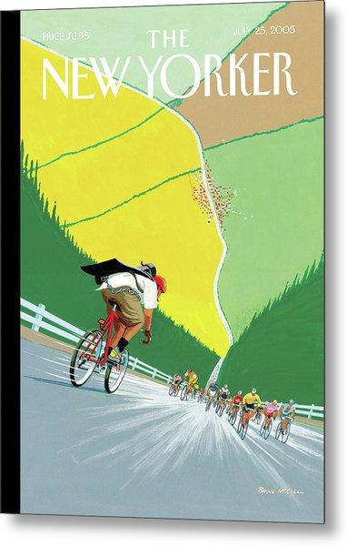 Bike Messenger Racing Towards Bikers Racing Metal Print by Bruce McCall