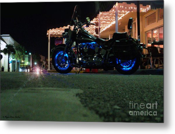 Bike Night In Blue Light Metal Print