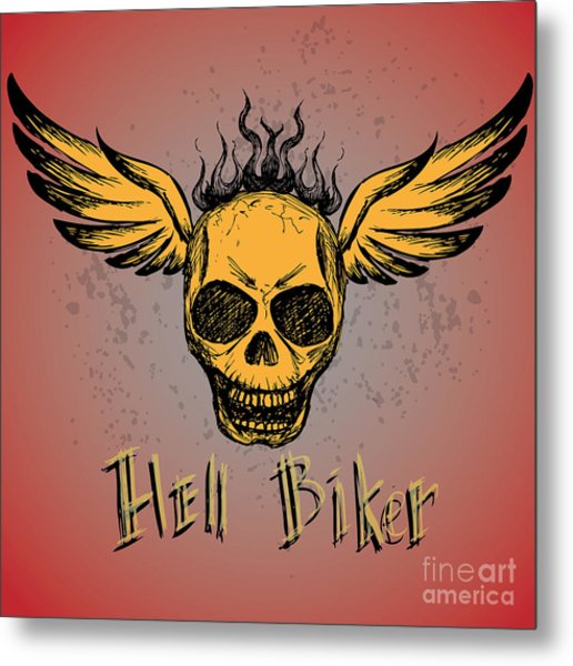 Biker Emblem, Logo Or Tattoo, Hand Metal Print