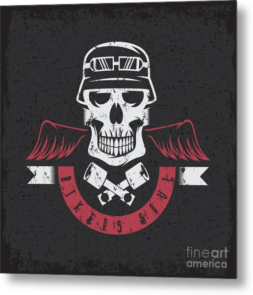 Biker Theme Grunge Label With Pistons Metal Print