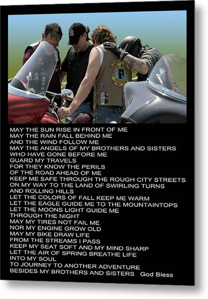 Bikers Prayer Metal Print by Joe Oliver