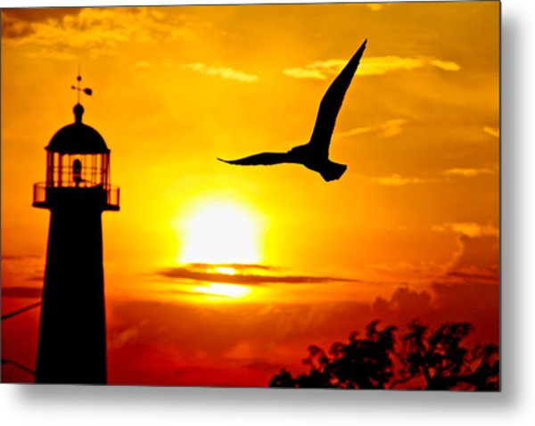 Biloxi Lighthouse Sunset Metal Print