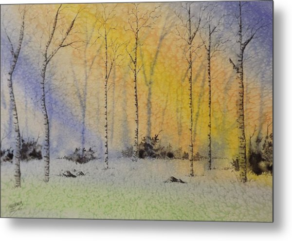 Birch In Blue Metal Print