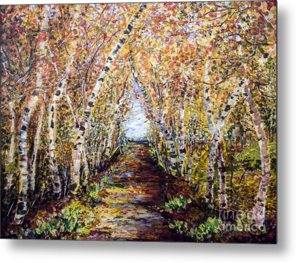 Birch Tree Allee Metal Print