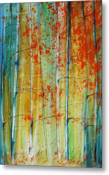 Metal Print featuring the painting Birch Tree Forest by Jani Freimann