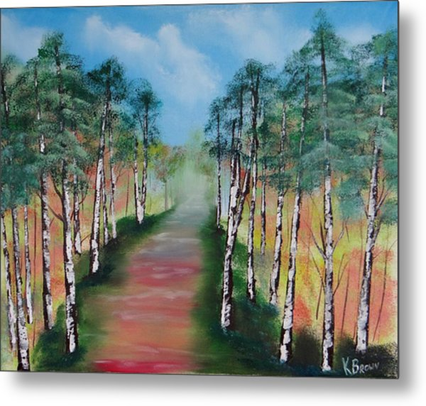 Metal Print featuring the painting Birch Trees Along Winding Path by Kevin  Brown
