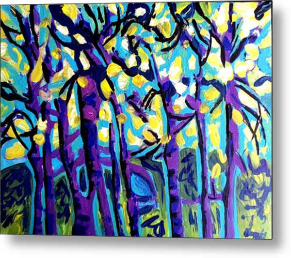 Birch Trees Blue Metal Print