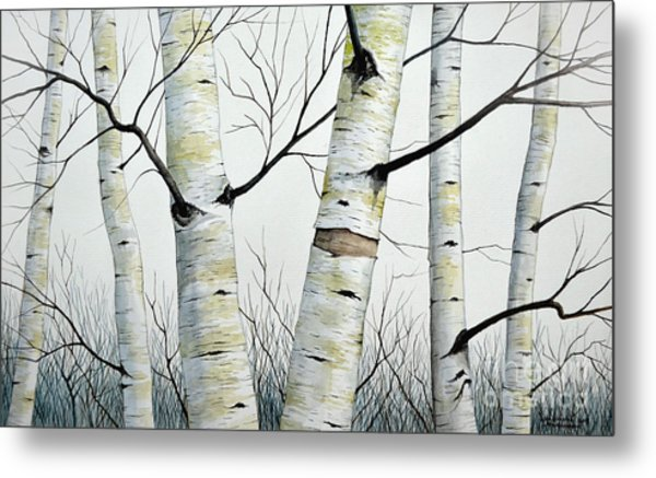 Birch Trees In The Forest In Watercolor Metal Print