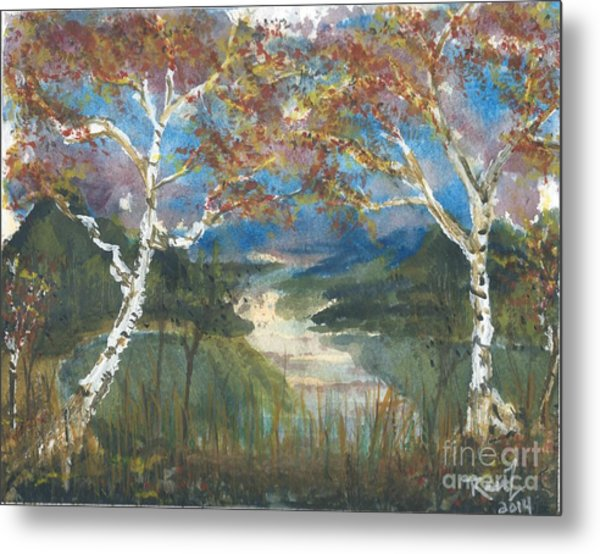Birch Trees On The Ridge  Metal Print