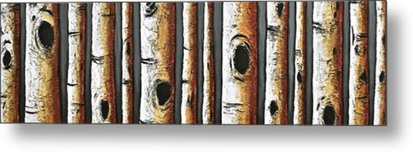 Birches A Touch Of Red Metal Print by Lori McPhee