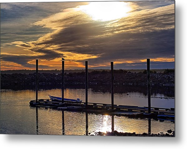 Bird - Boat - Bay Metal Print