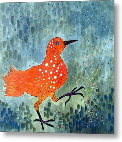 Bird Brain Rain Dance Metal Print