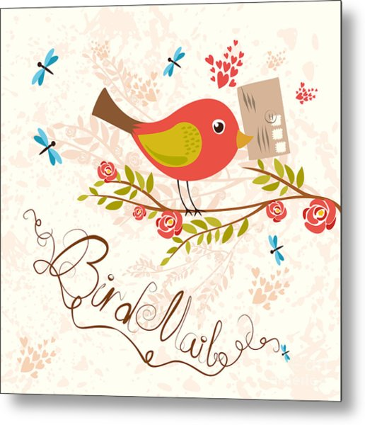 Bird-mail. Postcrossing Cheerful. Cute Metal Print
