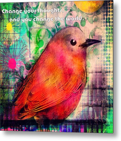 Bird On A Wire Metal Print by Robin Mead