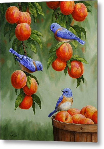 Bird Painting - Bluebirds And Peaches Metal Print