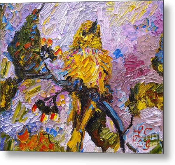 Bird Yellow Warbler Oil Painting Metal Print
