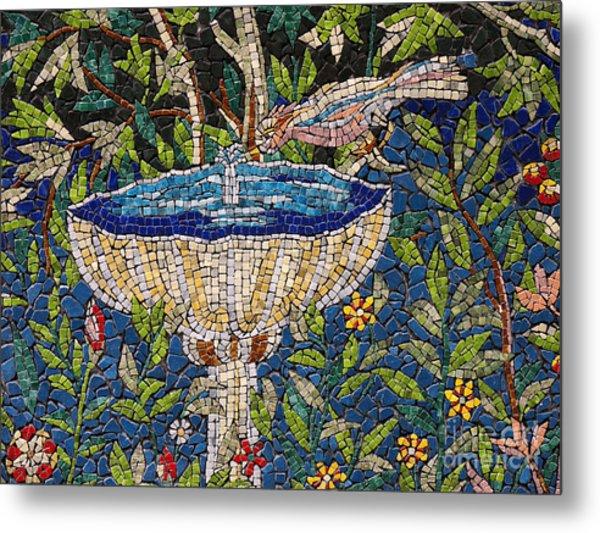 Birdbath Mosaic Metal Print