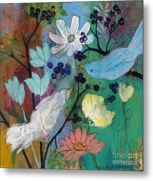 Birds And Berries Metal Print