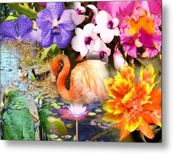 Birds And Flowers Metal Print by Van Ness
