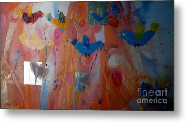 Birds And Horses Metal Print by Anna Zygmunt