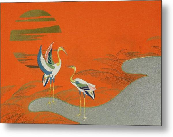 Birds At Sunset On The Lake Metal Print