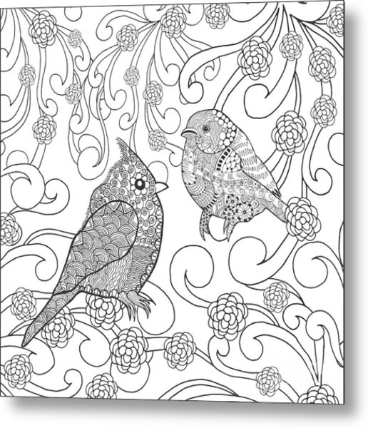 Birds Coloring Page. Animals. Hand Metal Print
