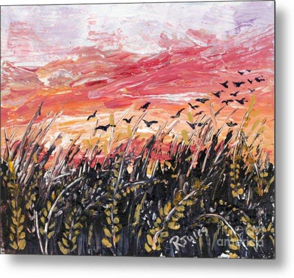 Birds In Wheatfield Metal Print