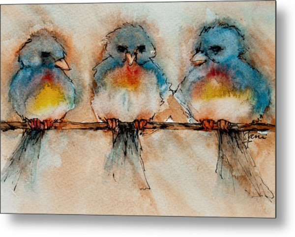 Metal Print featuring the painting Birds Of A Feather by Jani Freimann