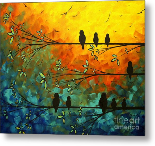Birds Of A Feather Original Whimsical Painting Metal Print