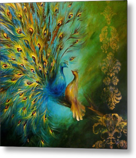Birds Of A Feather Peacocks 3 Metal Print
