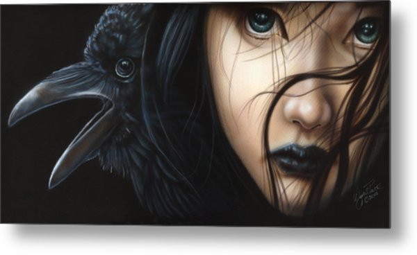 Birds Of Prey- Raven Metal Print
