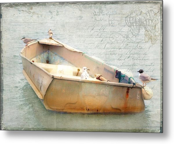 Birds On A Boat In The Basin Metal Print