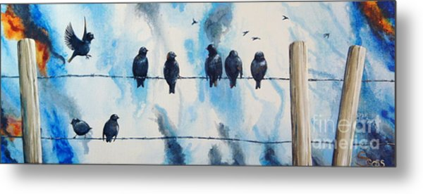 Birds On Barbed Wire Metal Print