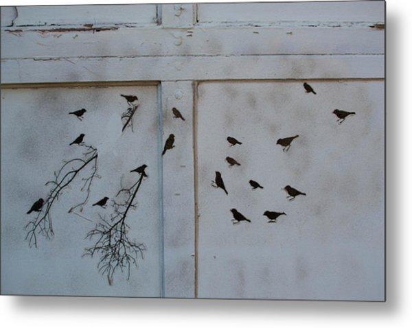Birds On The Garage Metal Print