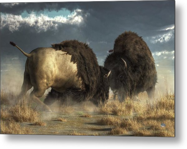 Metal Print featuring the digital art Bison Fight by Daniel Eskridge