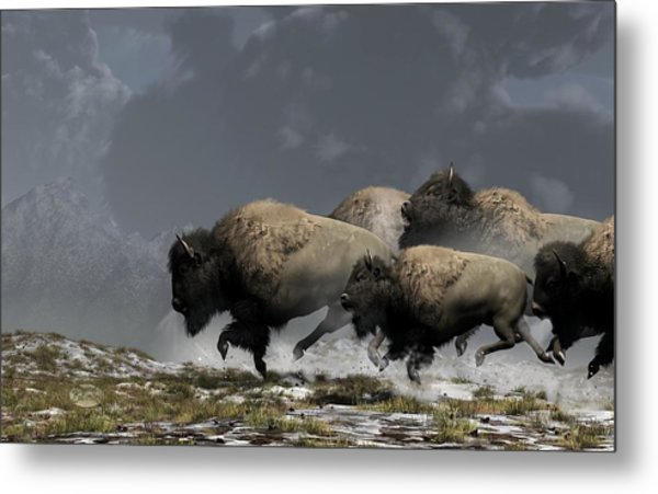 Metal Print featuring the digital art Bison Stampede by Daniel Eskridge