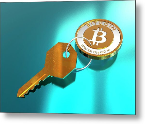Bitcoin And Key Metal Print by Victor Habbick Visions/science Photo Library