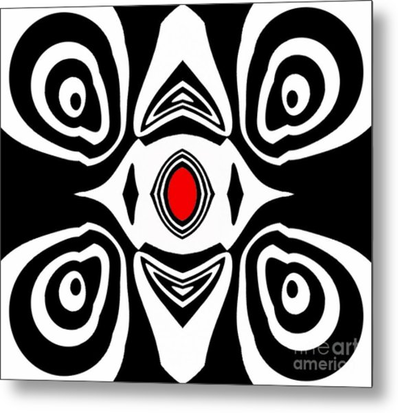 Abstract Black White Red Art No.213 Metal Print by Drinka Mercep