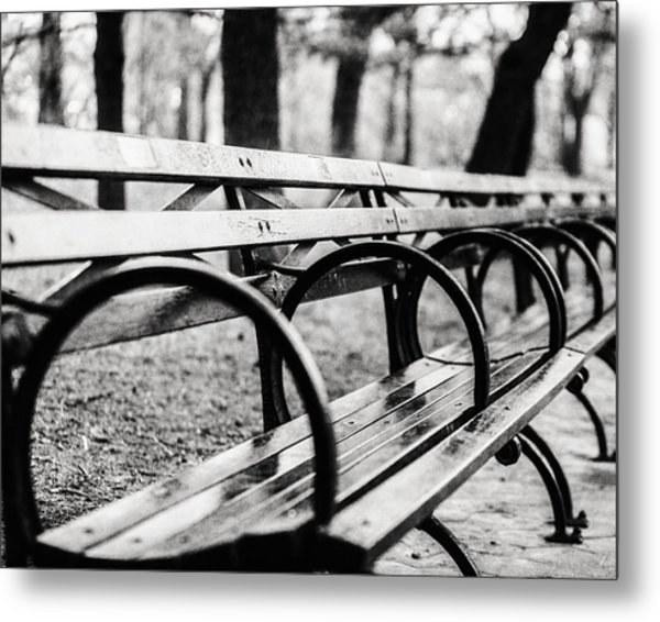 Black And White Central Park Bench In New York City Metal Print by Lisa Russo