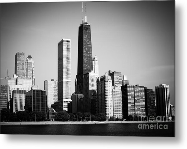 Black And White Chicago Skyline With Hancock Building Metal Print