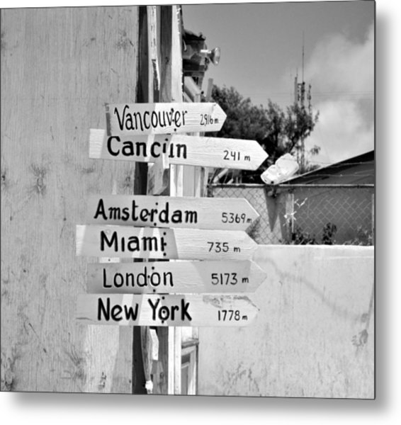 Black And White Directional Sign Metal Print