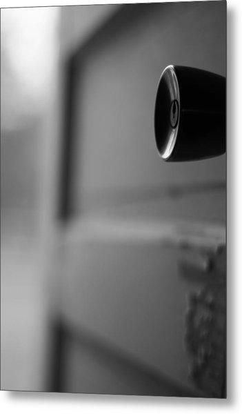 Black And White Door Handle Metal Print