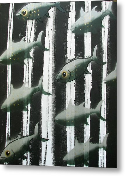 Black And White Fish Metal Print
