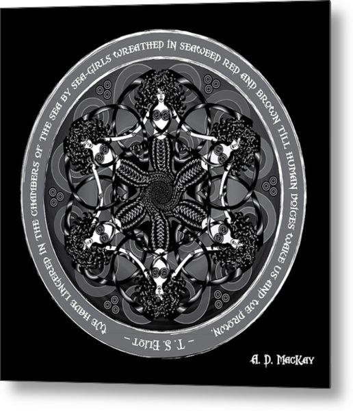 Black And White Gothic Celtic Mermaids Metal Print