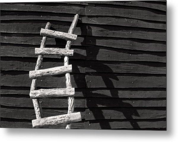 Black And White Ladder Metal Print