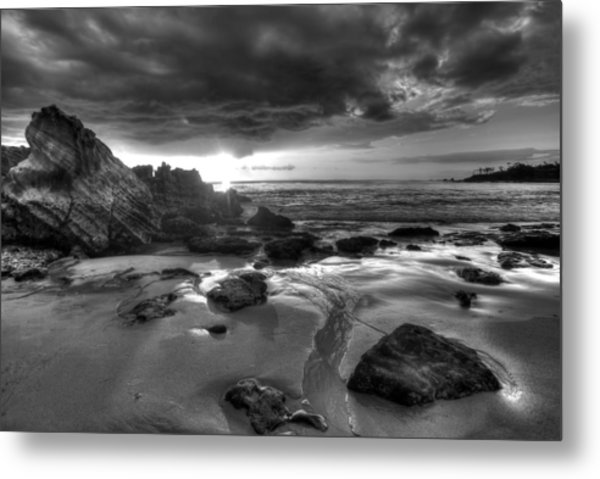 Black And White Laguna Beach Metal Print