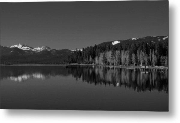 Black And White Lake Tahoe Reflection Metal Print