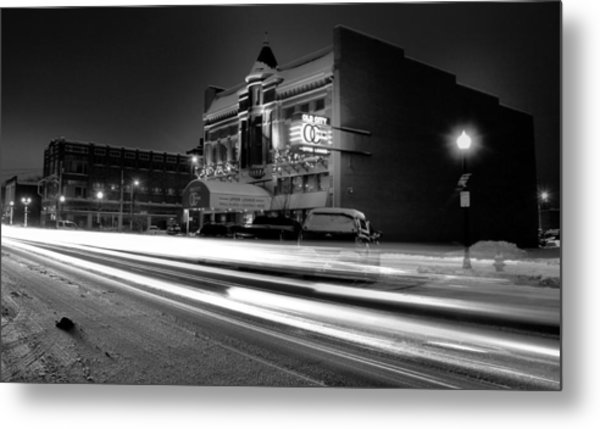 Black And White Light Painting Old City Prime Metal Print