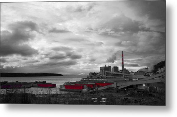 Black And White Mill Metal Print