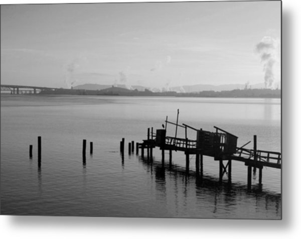 Black And White Oakland Bay Metal Print